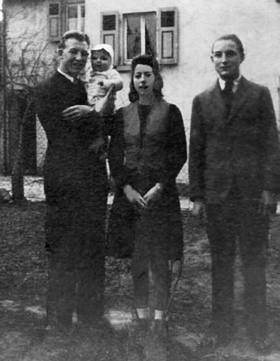 Adam on left with baby brother Frank, Theresa, George. Laudenbach, Germany, late 1947