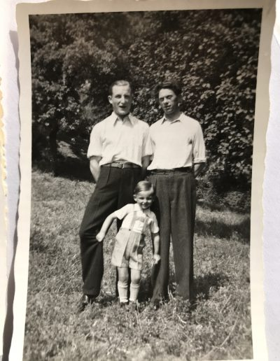 Adam's brother George, brother-in-law Franz, and little brother Frank. Laudenbach Germany circa 1951