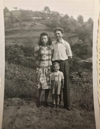 Adam's sister Theresa with her husband Franz and little brother Frank. Laudenbach Germany circa 1951