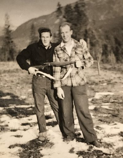 Adam learning to hunt with Freddy Brandel near Prince George spring 1952.