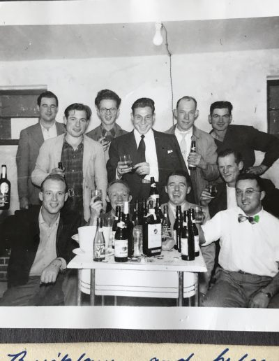 Dave Pipe's crew of immigrants, Christmas party 1953. Vancouver BC. Adam front left, Dave Pipe front right.