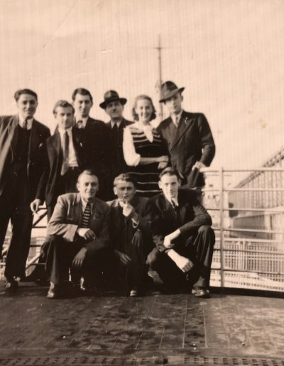 German immigrants aboard The Fair Sea November 1951. Adam and Beatrice back row, right hand side. Willy Fleischmann back left.