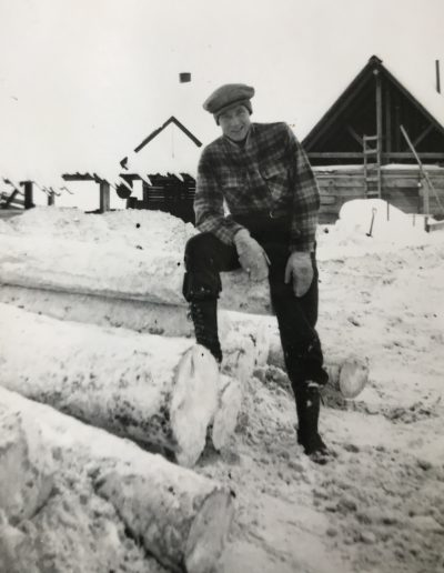 Adam at sawmill in Prince George, BC. First job and first winter in Canada. Winter 1951-52.