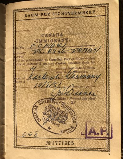 Canadian immigration visa, issued October 1951, a few weeks before boarding The Fair Sea.
