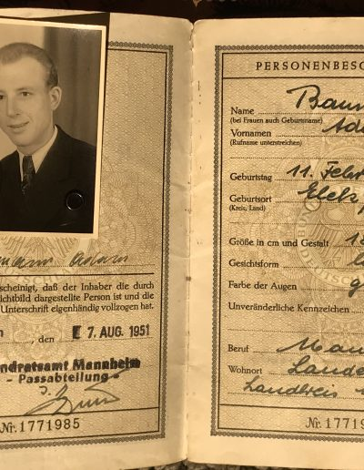 Adam's first passport, issued 1951.
