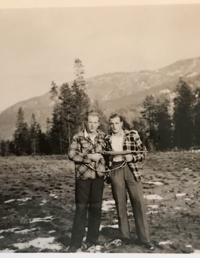 Adam and George, on hunting expedition with Freddy Brandel spring 1952.